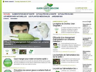 Guide-sante-bio.com - Informations sur les alternatives santé naturelles