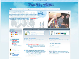 Aperçu visuel du site http://www.blueskyhostel.com/hostel_trans/index_french.htm